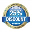 25 discount blue gold button isolated background — Imagen vectorial