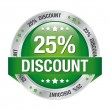 25 discount green silver button isolated background — Vektorgrafik