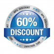 60 percent discount blue button isolated background — Imagens vectoriais em stock