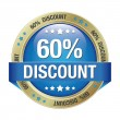 60 percent discount blue gold button isolated - Stock Vector