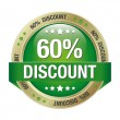 60 percent discount green gold button isolated — Stock Vector