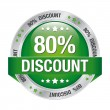 80 percent discount red button isolated background — 图库矢量图片