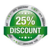 25 descuento fondo verde plata botón aislado — Vector de stock