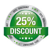 25 discount green silver button isolated background — Vector de stock