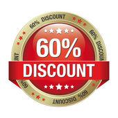 Botón de oro del 60 por ciento de descuento rojo aislado — Vector de stock