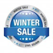 Sale winter button blue silver - Stock Vector