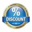 Percent discount blue button - Stock Vector