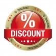 Percent discount red button - Stock Vector
