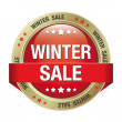 Sale winter button red gold — Stock Vector