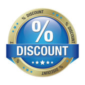 Percent discount blue button — Stock Vector