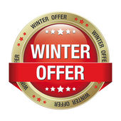 Winter offer button red gold — Stock Vector