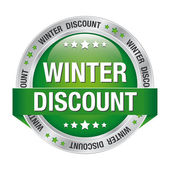 Winter discount button green silver — Stock Vector