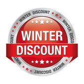Sale winter button red silver — Stock Vector