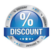 Percent discount blue silver button isolated background — Stock Vector