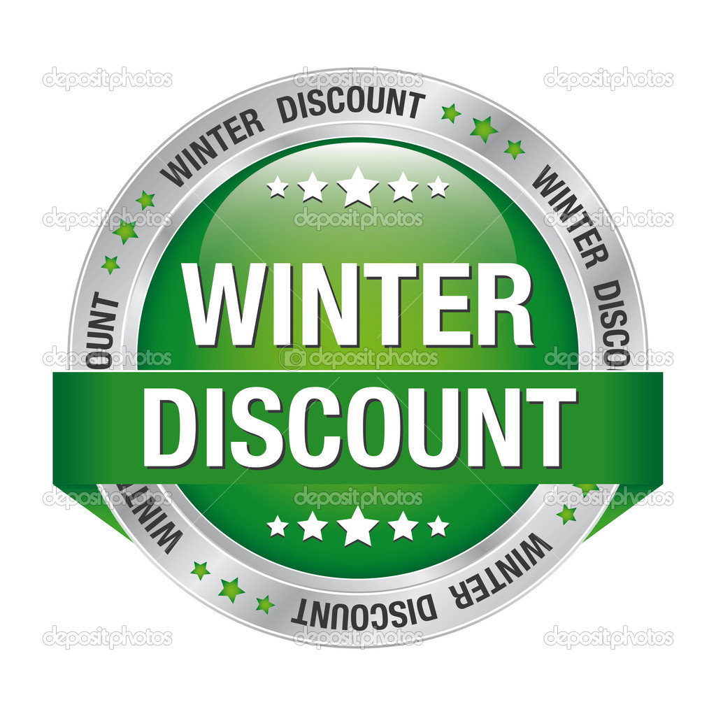 Winter discount green silver button isolated background  Stock Vector #18775081