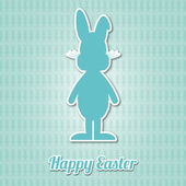 Happy easter bunny blue background — Stock Vector