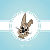 Happy easter brown bunny — Stock Vector