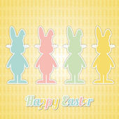 Four happy easter bunny colorful — Stock Vector