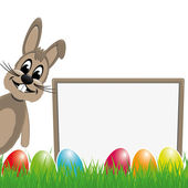 Easter bunny behind signboard colorful eggs — Stock Vector
