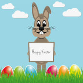 Easter bunny hold signboard colorful eggs — Stock Vector
