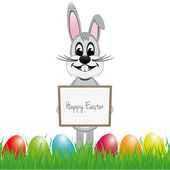 Easter bunny signboard colorful eggs — Stock Vector