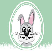 Happy easter bunny white egg green background — Stock Vector