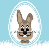 Brown easter bunny white egg blue background — Stock Vector