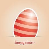 Red striped easter egg card beige background — Stockvektor