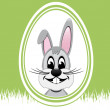 Happy easter bunny white egg green background — Stock Vector #21138981