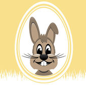 Brown easter bunny white egg yellow background — Stock Vector