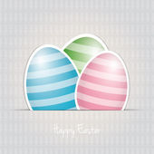 Colorful white striped easter eggs card background — Stock Vector