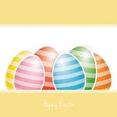 Coloridos huevos de pascua rayas blanco tarjeta de fondo — Vector de stock