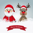 Santa clause reindeer merry christmas — Stock Photo