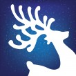 Stock Photo: Reindeer winter background stars and snow