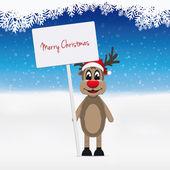 Reindeer santa hat winter background — Stock Photo