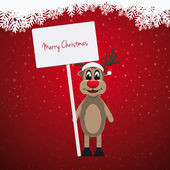 Reindeer santa hat sign winter background — Stock Photo