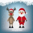 Reindeer and santa claus winter snowy landscape — Stock Vector