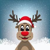 Reindeer winter snowy landscape — Stock Vector