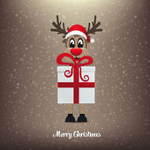 Reindeer gift winter snowy background — Stock Vector
