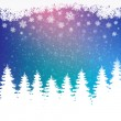 Stock Vector: Colorful winter snowy background