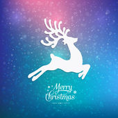 Merry christmas reindeer colorful winter background — Stock Vector