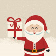 Santa claus hold christmas gift — Stock Vector
