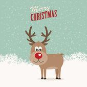 Reindeer snowy background — Stock Vector