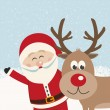 Santa claus and reindeer snowy background — Stock Vector