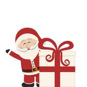 Santa claus golf achter kerstcadeau geïsoleerd — Stockvector