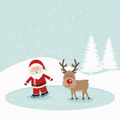 Santa and reindeer skate on ice snowy background — Stock Vector