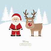 Santa and reindeer snowy winter background — Stock Vector