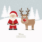 Santa and reindeer snowy winter background — Vettoriale Stock