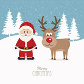 Santa and reindeer snowy winter background — Vecteur