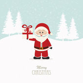 Santa claus hold christmas gift snowy background — Stock Vector